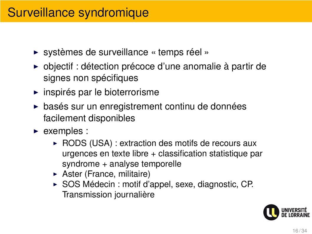 Surveillance syndromique