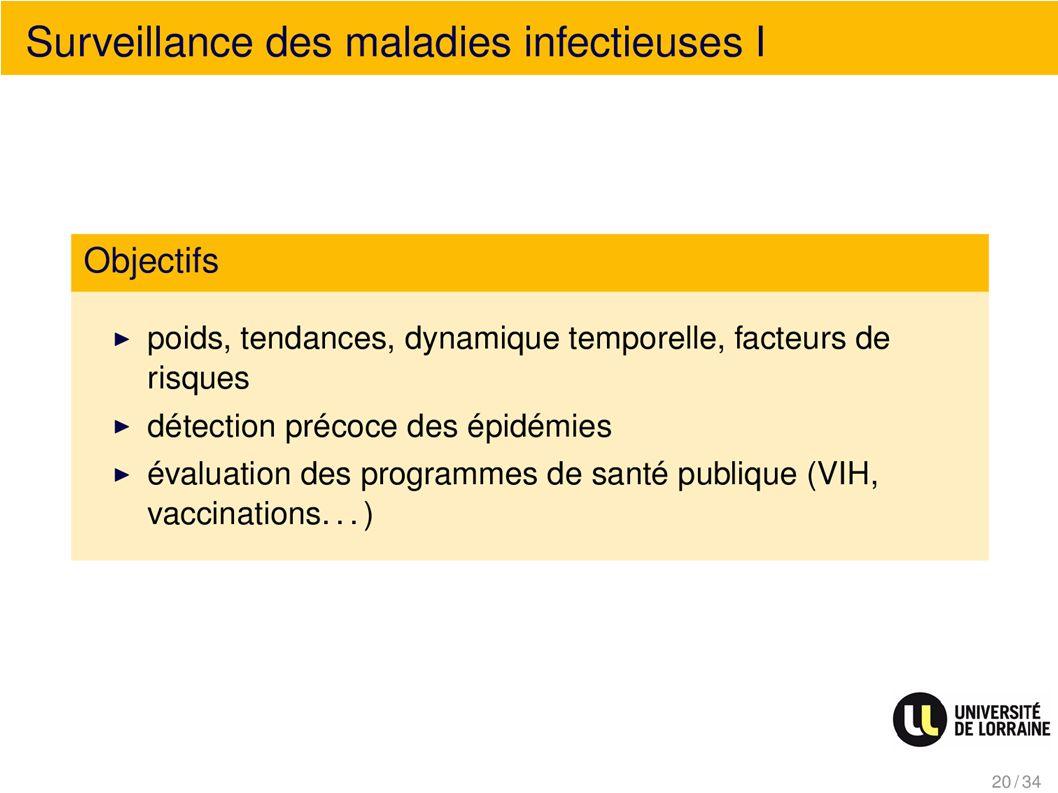 Surveillance des maladies infectieuses I Objectifs