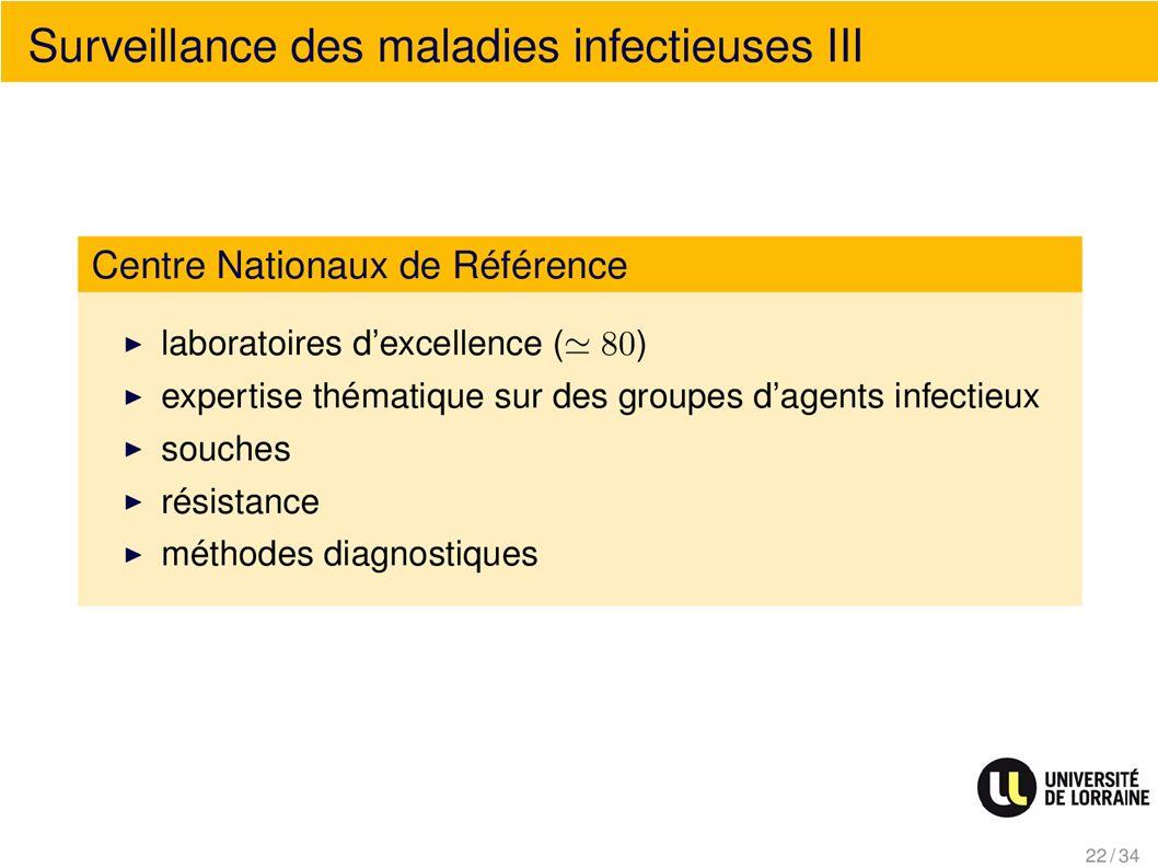 Surveillance des maladies infectieuses III Centre Nationaux de Référence