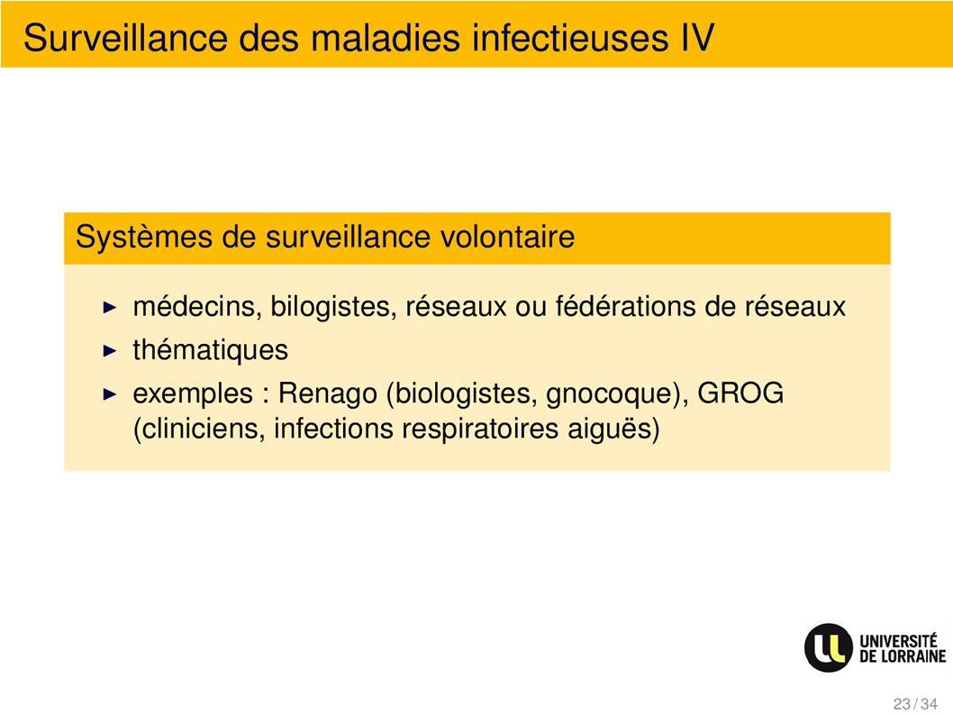 Surveillance des maladies infectieuses IV Systèmes de surveillance volontaire
