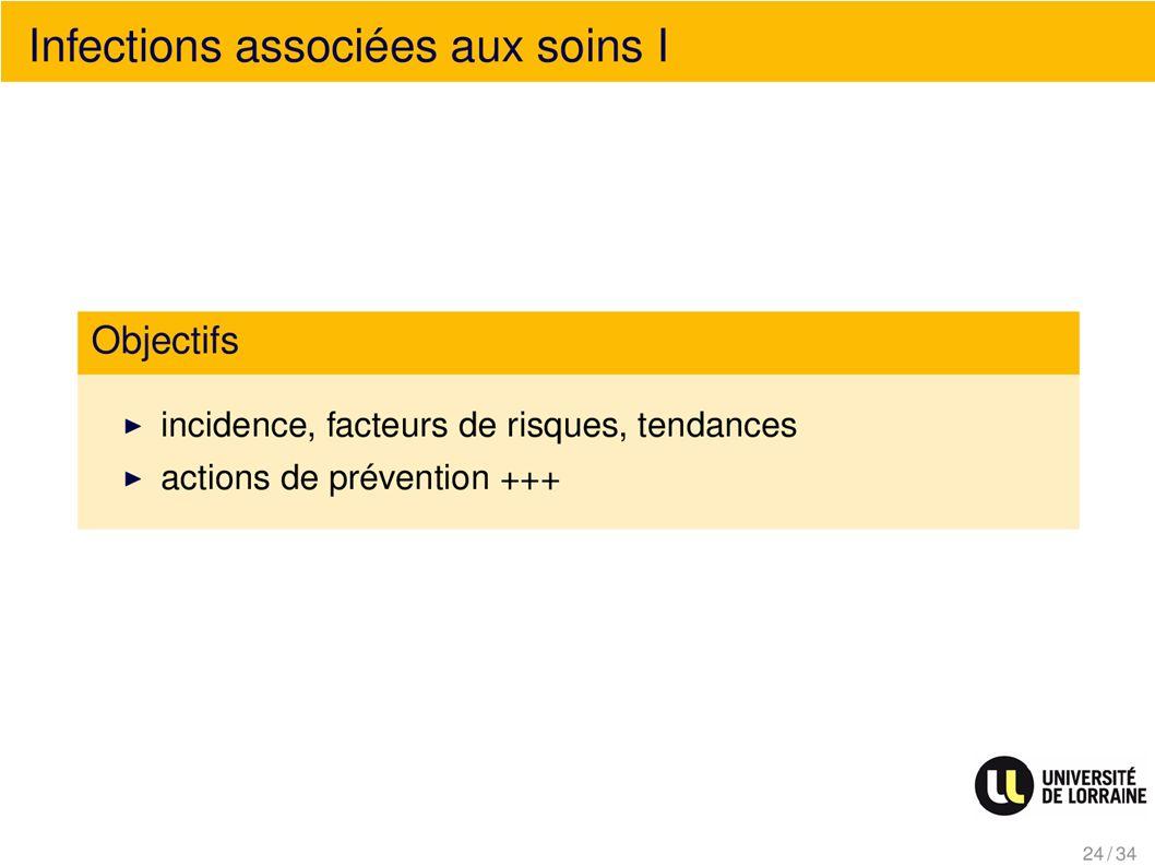 Infections associées au soins I Objectifs