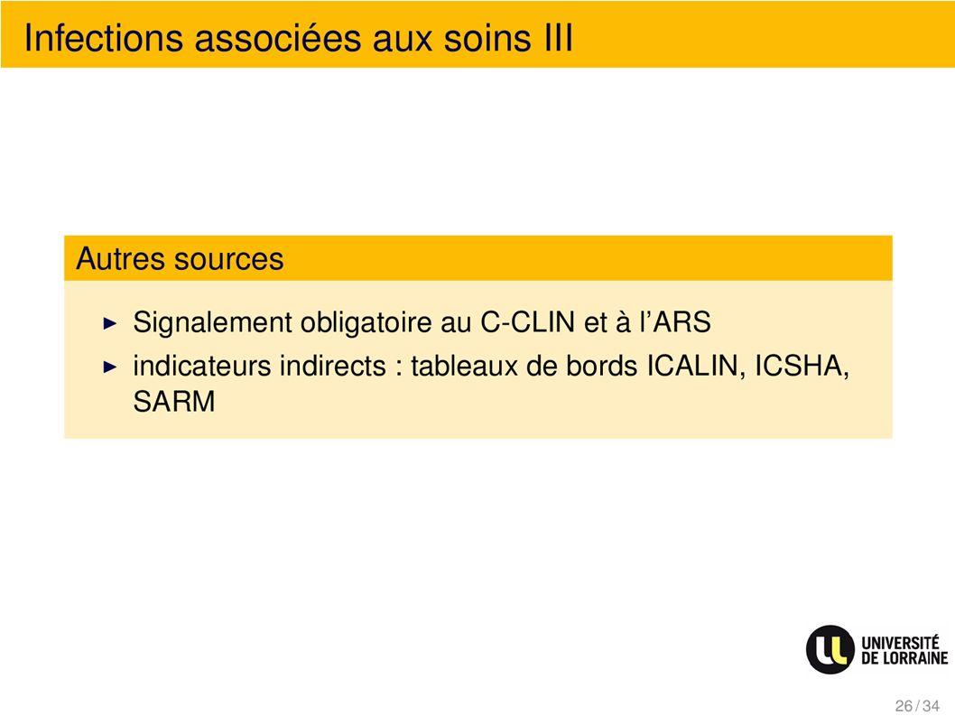 Infections associées au soins III Autres sources