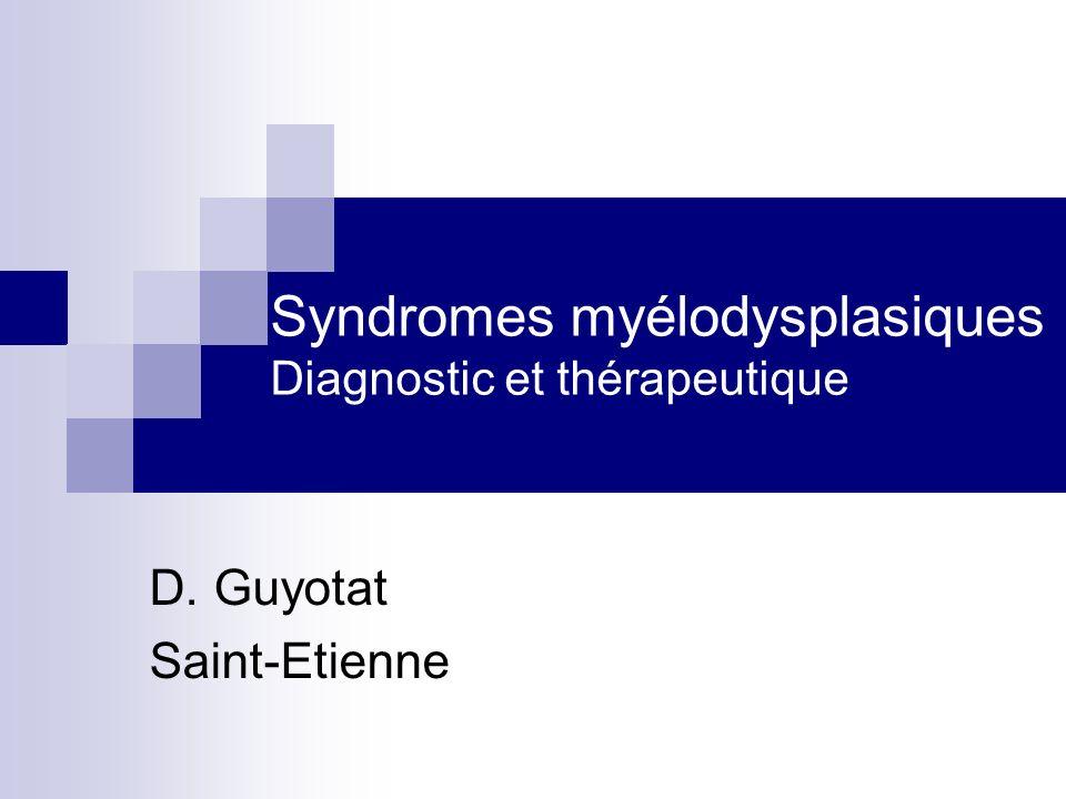Syndromes myélodysplasiques Caractères généraux Pathologie hétérogène Anomalie clonale dune cellule souche hématopoiétique Cytopénie (s) à moelle riche Dysplasie des lignées myéloïdes Evolution fréquente vers LAM 10-20% des anémies du sujet âgé