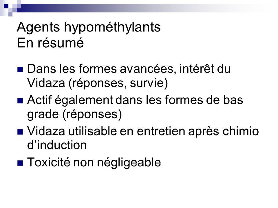 Agents hypométhylants En résumé Dans les formes avancées, intérêt du Vidaza (réponses, survie) Actif également dans les formes de bas grade (réponses) Vidaza utilisable en entretien après chimio dinduction Toxicité non négligeable