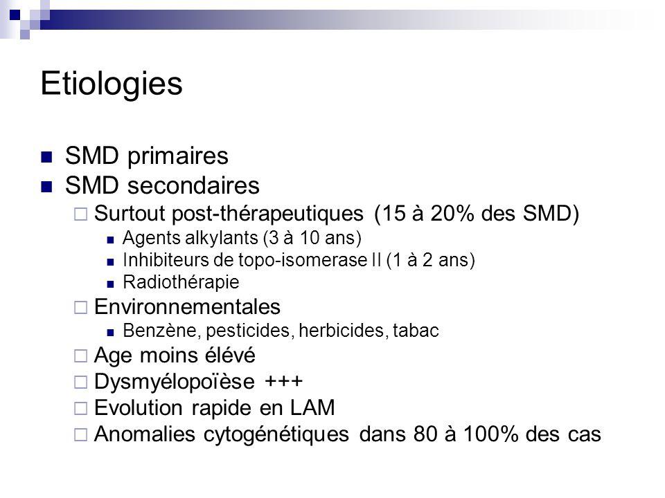Etiologies SMD primaires SMD secondaires Surtout post-thérapeutiques (15 à 20% des SMD) Agents alkylants (3 à 10 ans) Inhibiteurs de topo-isomerase II (1 à 2 ans) Radiothérapie Environnementales Benzène, pesticides, herbicides, tabac Age moins élévé Dysmyélopoïèse +++ Evolution rapide en LAM Anomalies cytogénétiques dans 80 à 100% des cas