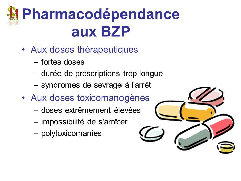Pharmacodépendance aux BZP Aux doses thérapeutiques –fortes doses –durée de prescriptions trop longue –syndromes de sevrage à l'arrêt Aux doses toxico