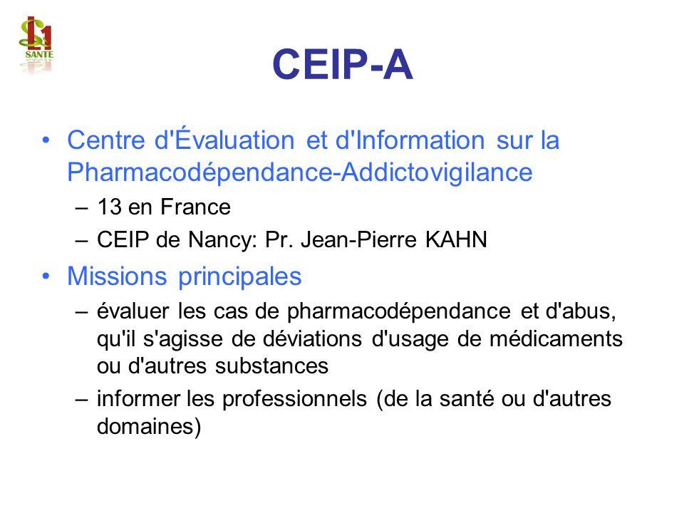 CEIP-A Centre d'Évaluation et d'Information sur la Pharmacodépendance-Addictovigilance –13 en France –CEIP de Nancy: Pr. Jean-Pierre KAHN Missions pri