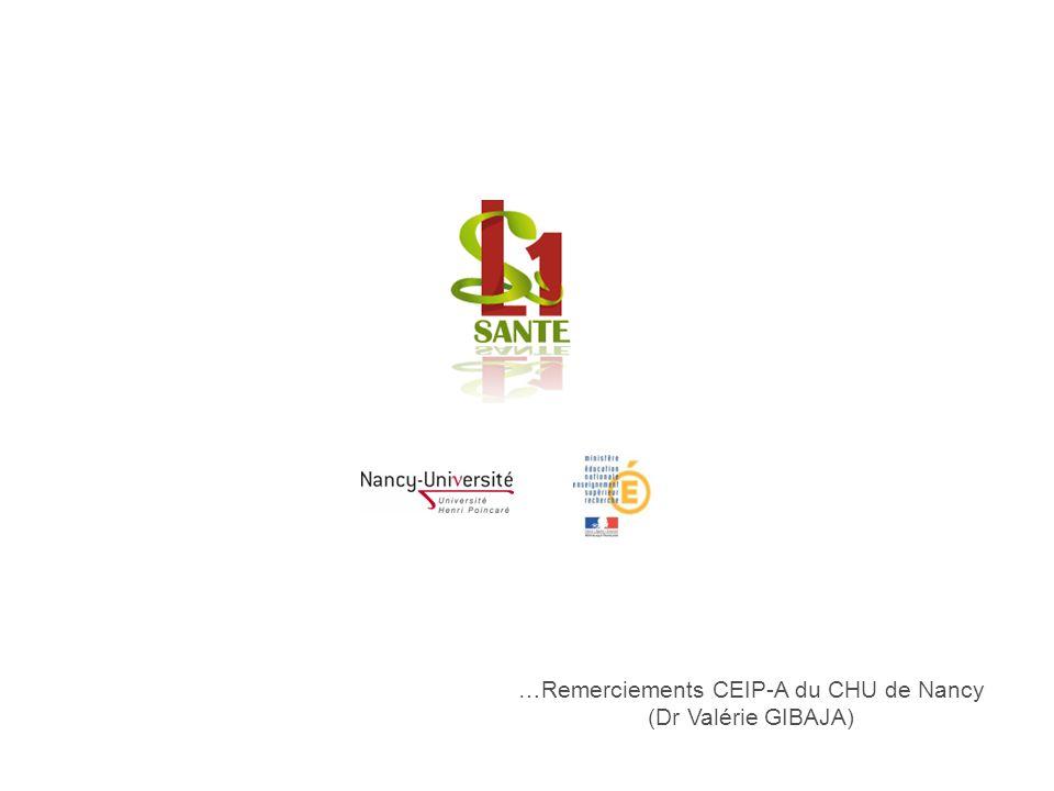 …Remerciements CEIP-A du CHU de Nancy (Dr Valérie GIBAJA) L1 SANTE