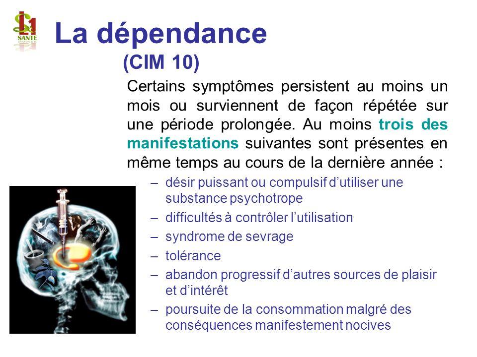La dépendance (CIM 10) Certains symptômes persistent au moins un mois ou surviennent de façon répétée sur une période prolongée. Au moins trois des ma