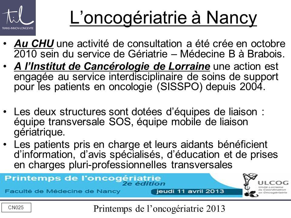 Printemps de loncogériatrie 2013 CN025 Loncogériatrie à Nancy Au CHU une activité de consultation a été crée en octobre 2010 sein du service de Gériat
