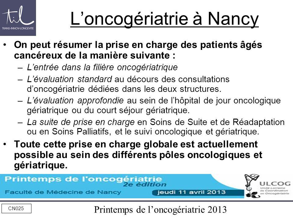 Printemps de loncogériatrie 2013 CN025 Loncogériatrie à Nancy On peut résumer la prise en charge des patients âgés cancéreux de la manière suivante :