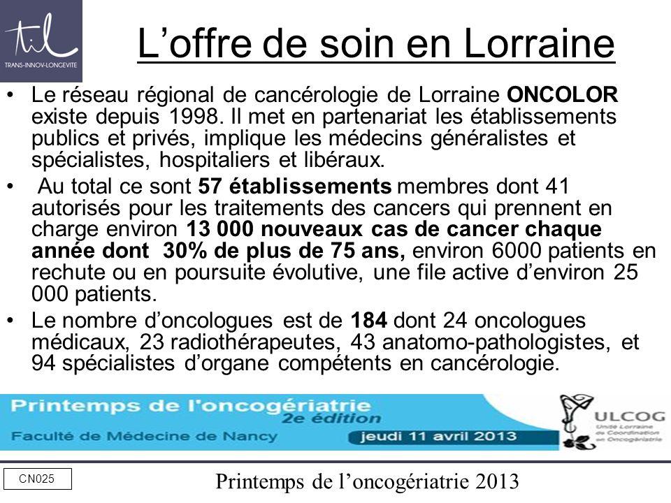 Printemps de loncogériatrie 2013 CN025 Loffre de soin en Lorraine Le réseau régional de cancérologie de Lorraine ONCOLOR existe depuis 1998. Il met en