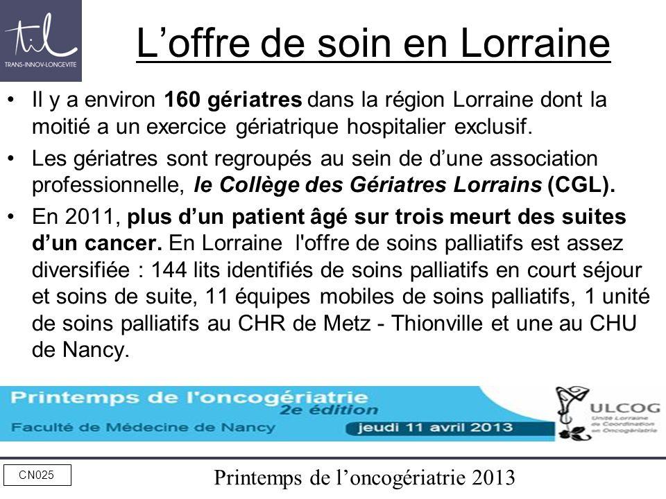 Printemps de loncogériatrie 2013 CN025 Loffre de soin en Lorraine Il y a environ 160 gériatres dans la région Lorraine dont la moitié a un exercice gé