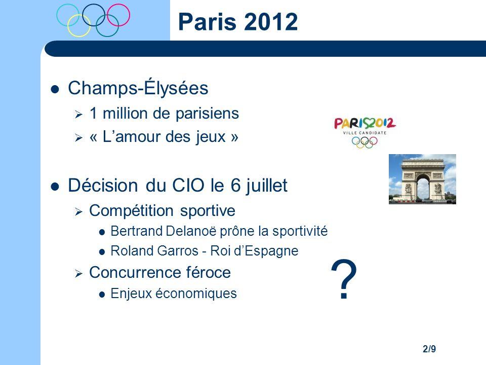 2/9 Paris 2012 Champs-Élysées 1 million de parisiens « Lamour des jeux » Décision du CIO le 6 juillet Compétition sportive Bertrand Delanoë prône la s