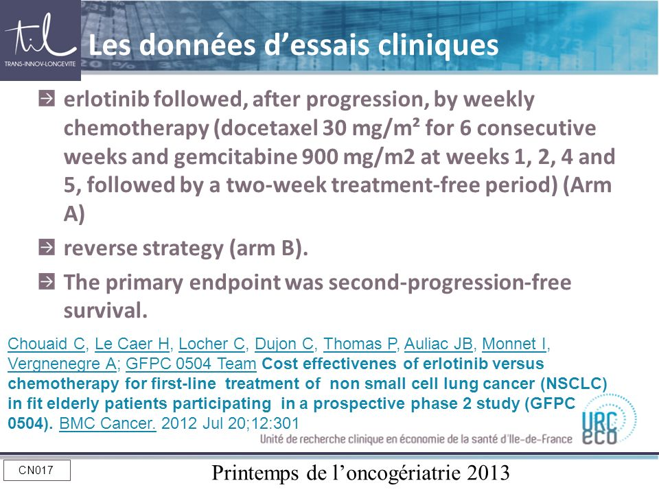 Printemps de loncogériatrie 2013 CN017 Les données dessais cliniques erlotinib followed, after progression, by weekly chemotherapy (docetaxel 30 mg/m²