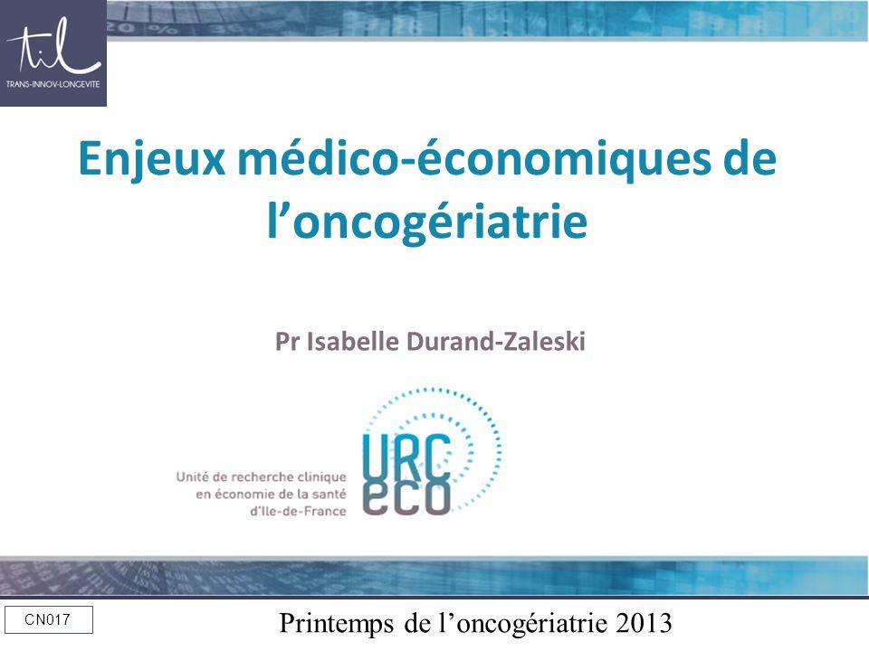 Printemps de loncogériatrie 2013 CN017 Enjeux médico-économiques de loncogériatrie Pr Isabelle Durand-Zaleski