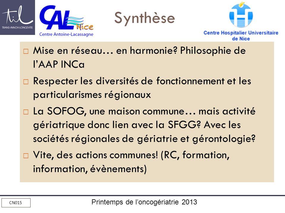 Printemps de loncogériatrie 2013 CN015 Synthèse Mise en réseau… en harmonie? Philosophie de lAAP INCa Respecter les diversités de fonctionnement et le