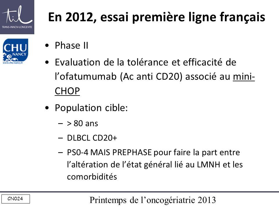 Printemps de loncogériatrie 2013 CN024 En 2012, essai première ligne français Phase II Evaluation de la tolérance et efficacité de lofatumumab (Ac ant