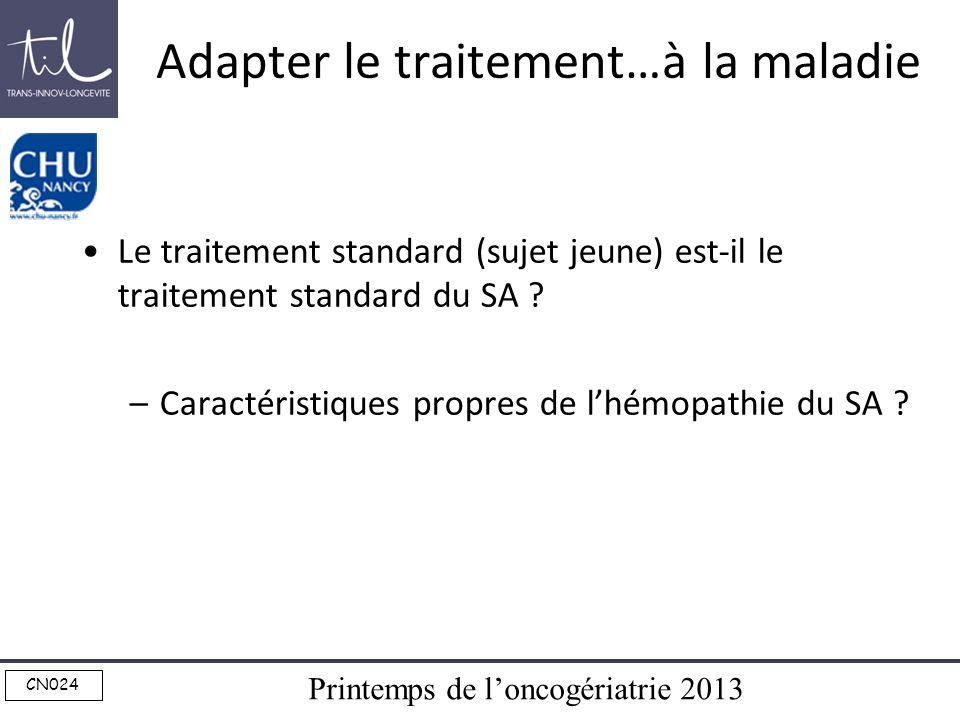 Printemps de loncogériatrie 2013 CN024 Adapter le traitement…à la maladie Le traitement standard (sujet jeune) est-il le traitement standard du SA ? –