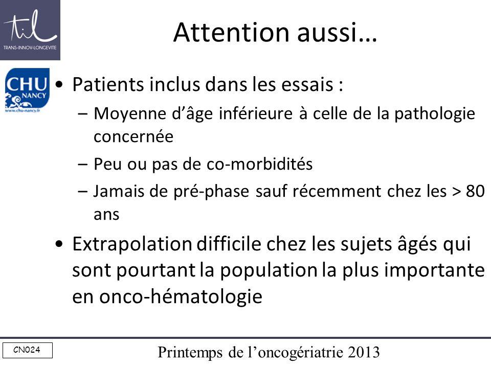 Printemps de loncogériatrie 2013 CN024 Attention aussi… Patients inclus dans les essais : –Moyenne dâge inférieure à celle de la pathologie concernée