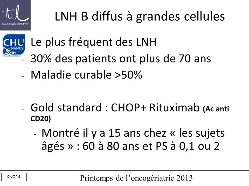 Printemps de loncogériatrie 2013 CN024 LNH B diffus à grandes cellules - Le plus fréquent des LNH - 30% des patients ont plus de 70 ans - Maladie cura