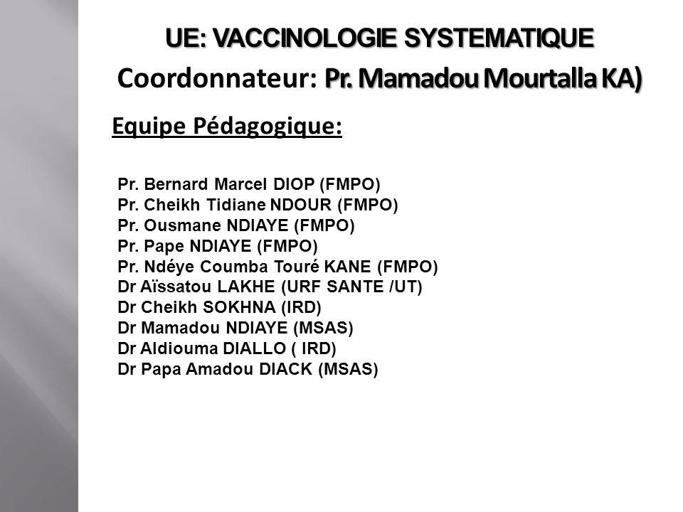 UE: VACCINOLOGIE SYSTEMATIQUE Pr. Mamadou Mourtalla KA) Coordonnateur: Pr. Mamadou Mourtalla KA) Equipe Pédagogique: Pr. Bernard Marcel DIOP (FMPO) Pr