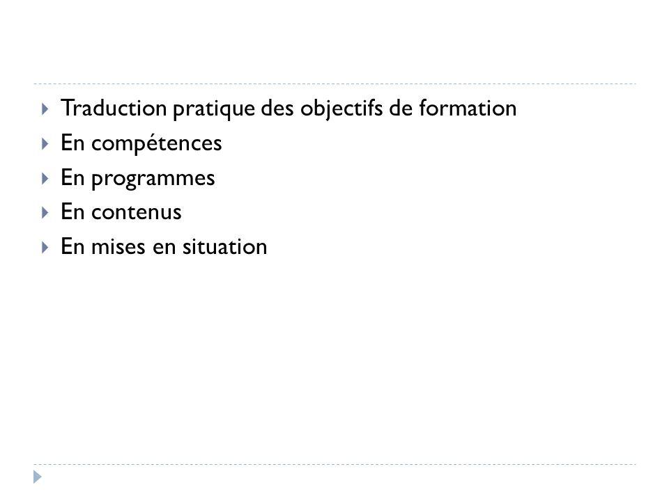 Traduction pratique des objectifs de formation En compétences En programmes En contenus En mises en situation