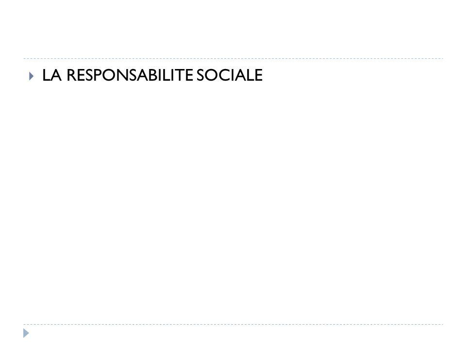 LA RESPONSABILITE SOCIALE