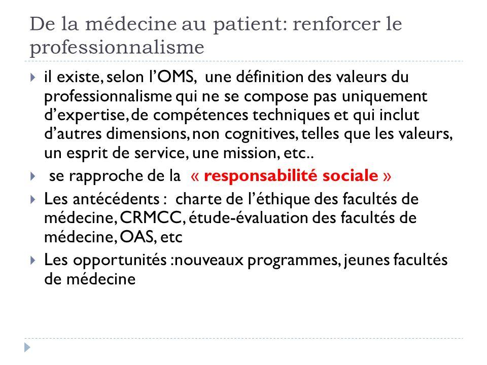 De la médecine au patient: renforcer le professionnalisme il existe, selon lOMS, une définition des valeurs du professionnalisme qui ne se compose pas uniquement dexpertise, de compétences techniques et qui inclut dautres dimensions, non cognitives, telles que les valeurs, un esprit de service, une mission, etc..