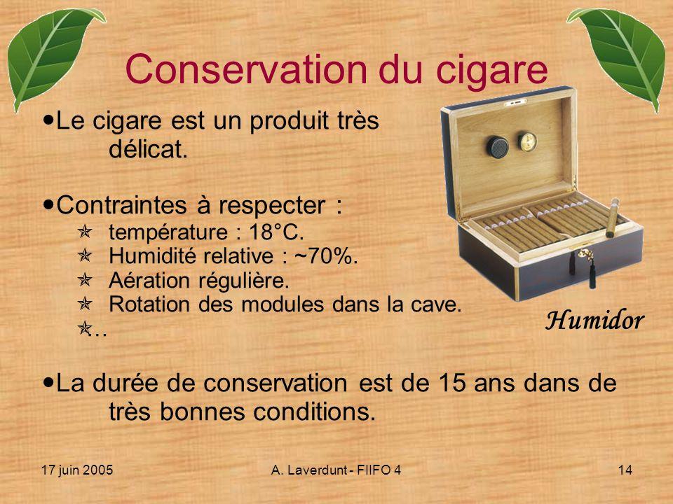 17 juin 2005A. Laverdunt - FIIFO 414 Conservation du cigare Le cigare est un produit très délicat. Contraintes à respecter : température : 18°C. Humid