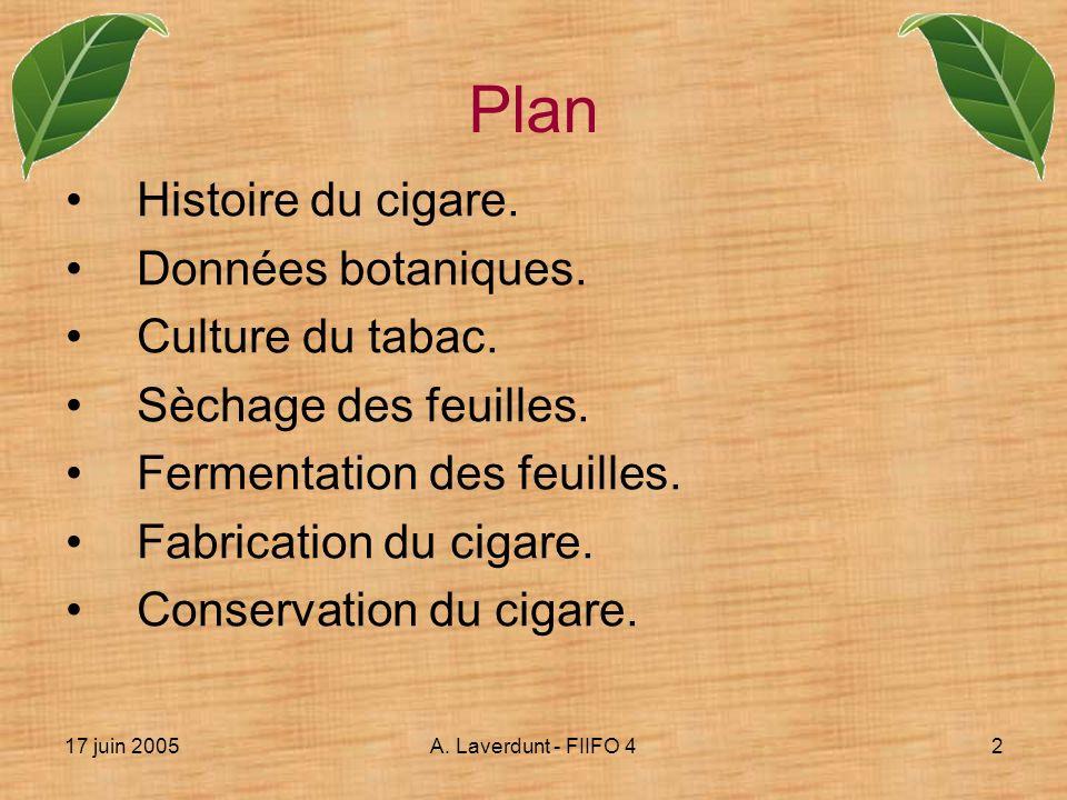 17 juin 2005A. Laverdunt - FIIFO 42 Histoire du cigare. Données botaniques. Culture du tabac. Sèchage des feuilles. Fermentation des feuilles. Fabrica