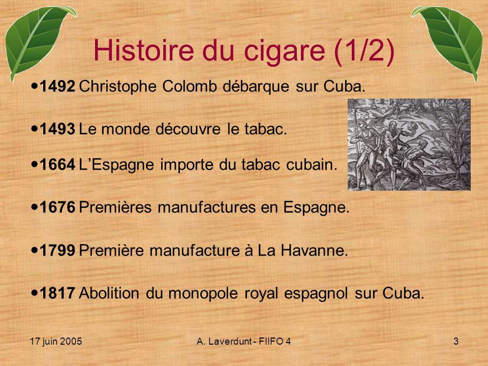 17 juin 2005A. Laverdunt - FIIFO 43 1492Christophe Colomb débarque sur Cuba. 1493Le monde découvre le tabac. 1664LEspagne importe du tabac cubain. 167