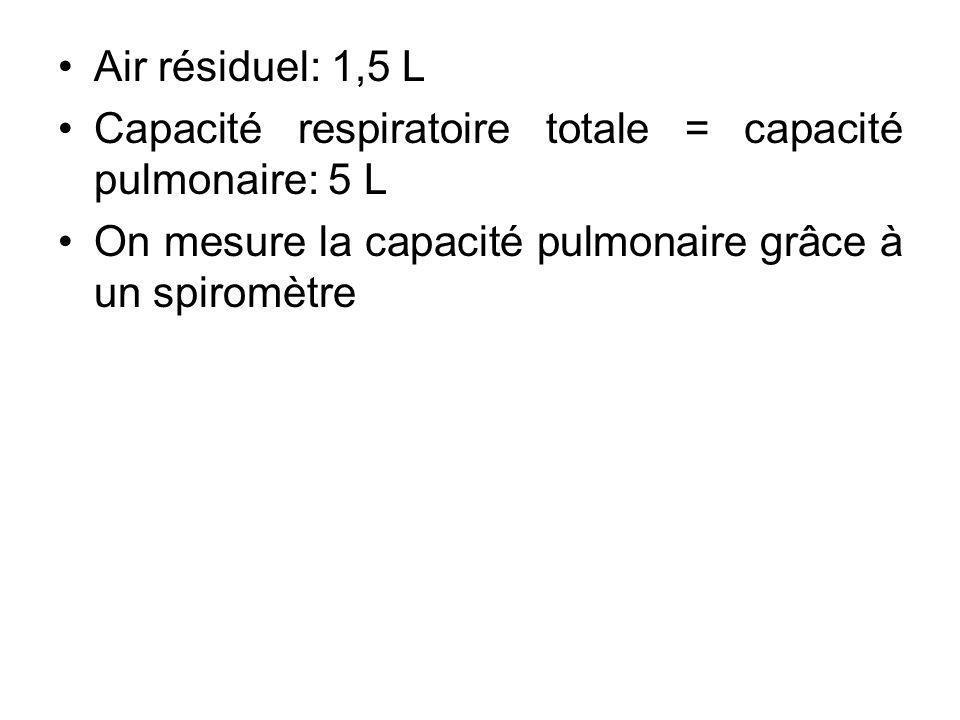 Air résiduel: 1,5 L Capacité respiratoire totale = capacité pulmonaire: 5 L On mesure la capacité pulmonaire grâce à un spiromètre