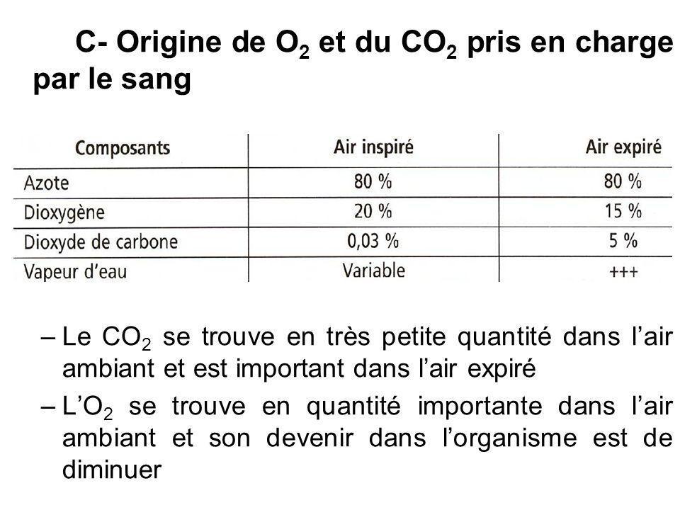 C- Origine de O 2 et du CO 2 pris en charge par le sang –Le CO 2 se trouve en très petite quantité dans lair ambiant et est important dans lair expiré