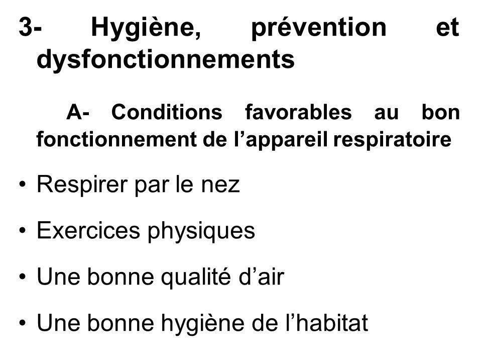 3- Hygiène, prévention et dysfonctionnements A- Conditions favorables au bon fonctionnement de lappareil respiratoire Respirer par le nez Exercices ph