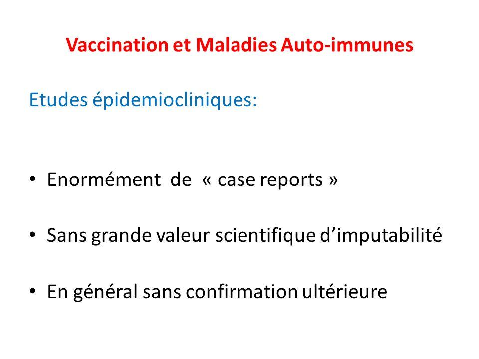 Vaccination et Maladies Auto-immunes Etudes épidemiocliniques: Enormément de « case reports » Sans grande valeur scientifique dimputabilité En général