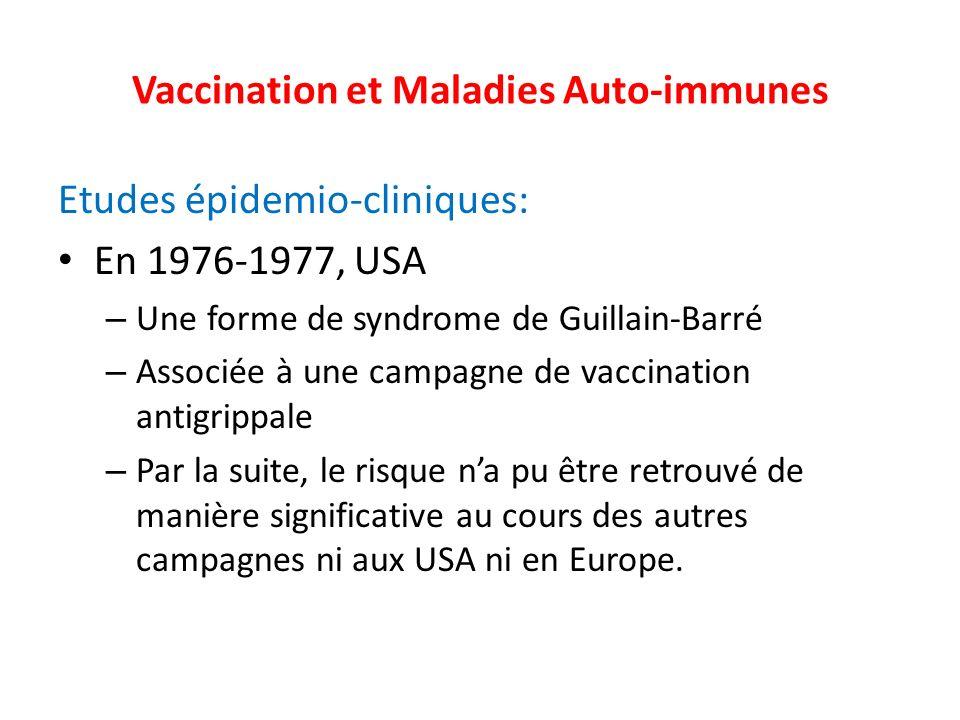 Vaccination et Maladies Auto-immunes Etudes épidemio-cliniques: En 1976-1977, USA – Une forme de syndrome de Guillain-Barré – Associée à une campagne