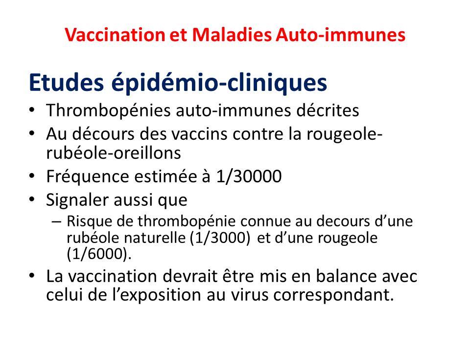 Vaccination et Maladies Auto-immunes Etudes épidémio-cliniques Thrombopénies auto-immunes décrites Au décours des vaccins contre la rougeole- rubéole-