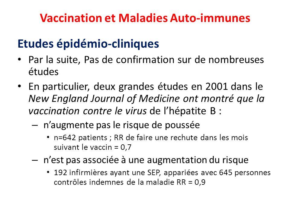 Vaccination et Maladies Auto-immunes Etudes épidémio-cliniques Par la suite, Pas de confirmation sur de nombreuses études En particulier, deux grandes