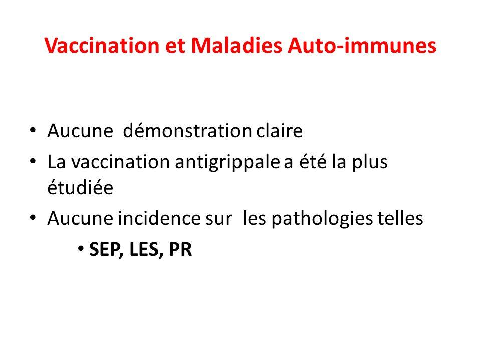 Vaccination et Maladies Auto-immunes Aucune démonstration claire La vaccination antigrippale a été la plus étudiée Aucune incidence sur les pathologie