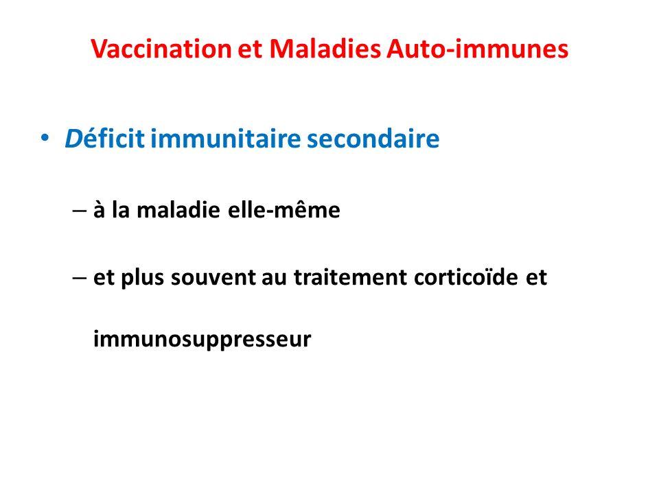Vaccination et Maladies Auto-immunes Déficit immunitaire secondaire – à la maladie elle-même – et plus souvent au traitement corticoïde et immunosuppr