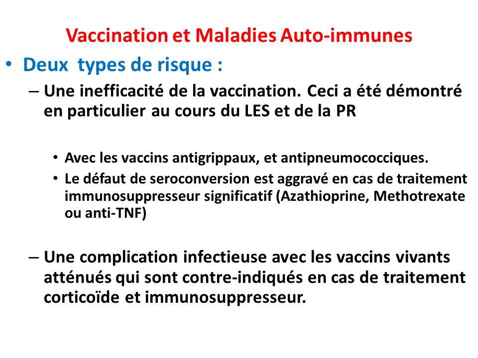 Vaccination et Maladies Auto-immunes Deux types de risque : – Une inefficacité de la vaccination. Ceci a été démontré en particulier au cours du LES e