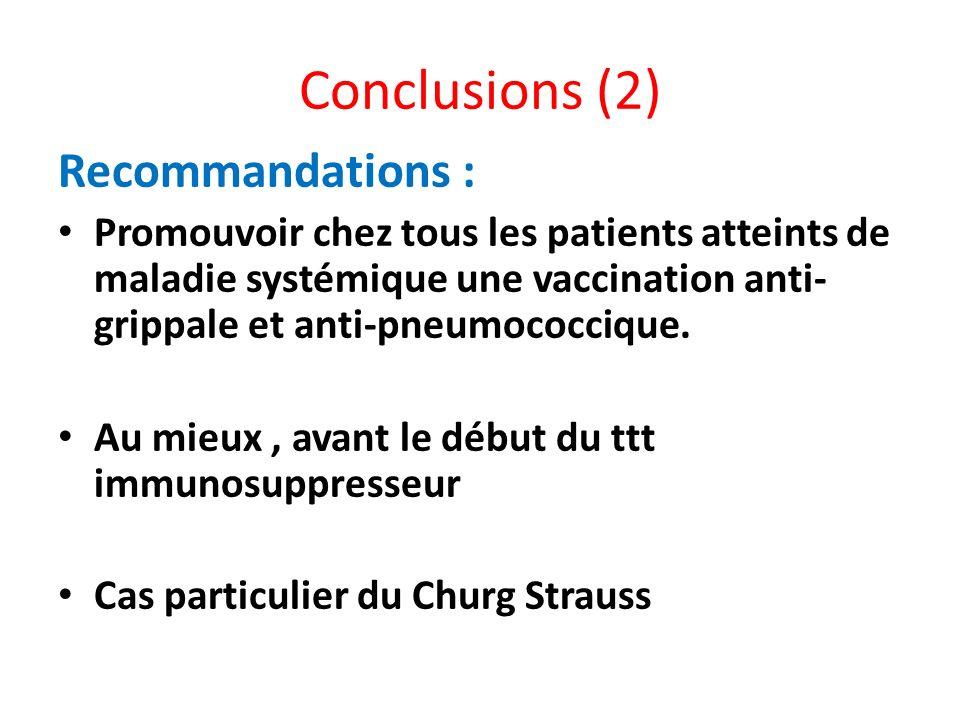 Conclusions (2) Recommandations : Promouvoir chez tous les patients atteints de maladie systémique une vaccination anti- grippale et anti-pneumococciq