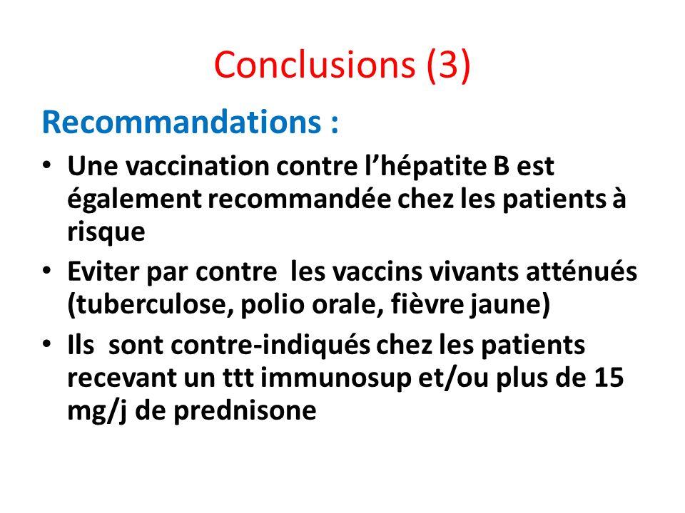 Conclusions (3) Recommandations : Une vaccination contre lhépatite B est également recommandée chez les patients à risque Eviter par contre les vaccin