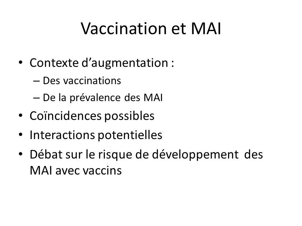 Vaccination et MAI Contexte daugmentation : – Des vaccinations – De la prévalence des MAI Coïncidences possibles Interactions potentielles Débat sur l