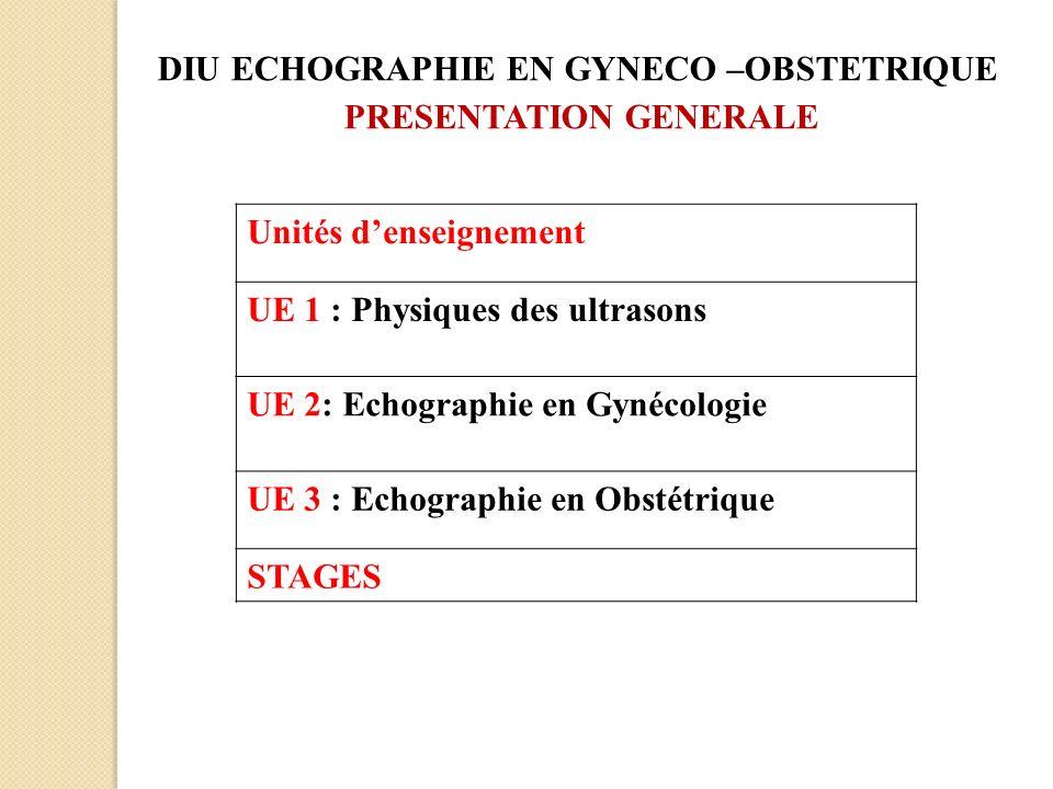 10 Unités denseignement UE 1 : Physiques des ultrasons UE 2: Echographie en Gynécologie UE 3 : Echographie en Obstétrique STAGES DIU ECHOGRAPHIE EN GY
