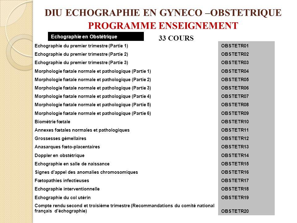 DIU ECHOGRAPHIE EN GYNECO –OBSTETRIQUE PROGRAMME ENSEIGNEMENT Echographie du premier trimestre (Partie 1)OBSTETR01 Echographie du premier trimestre (P