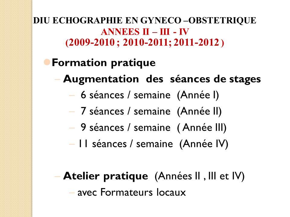 Formation pratique –Augmentation des séances de stages – 6 séances / semaine (Année I) – 7 séances / semaine (Année II) – 9 séances / semaine ( Année