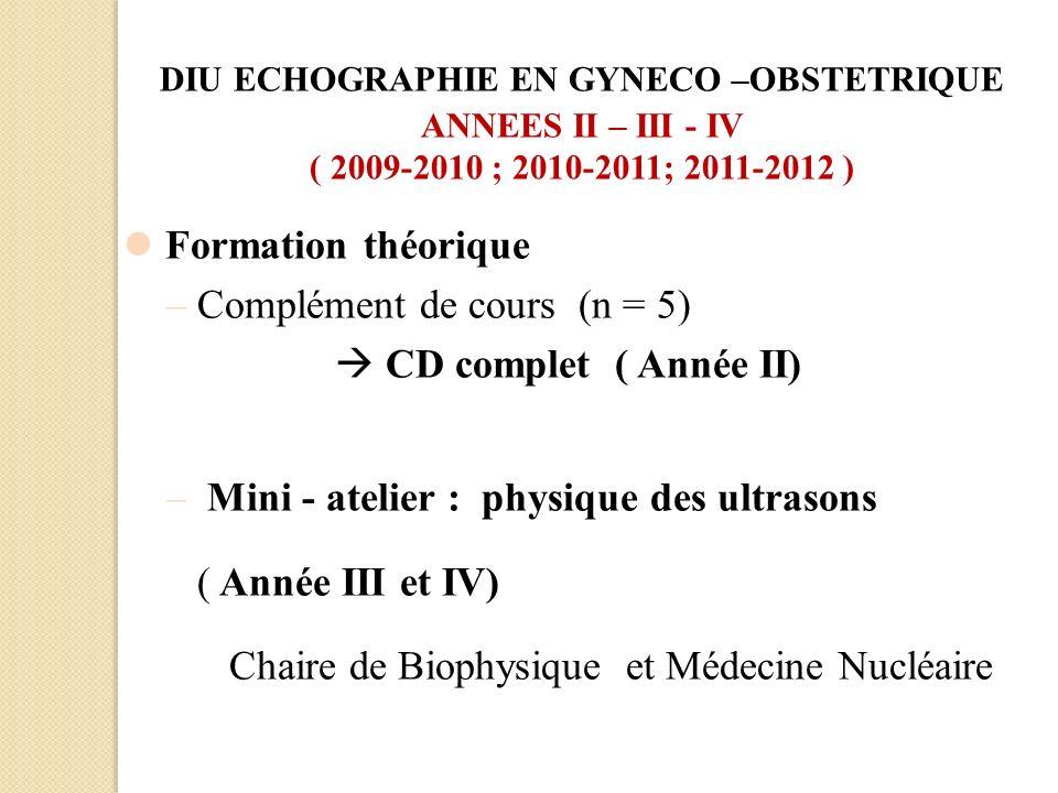 Formation théorique –Complément de cours (n = 5) CD complet ( Année II) – Mini - atelier : physique des ultrasons ( Année III et IV) Chaire de Biophys