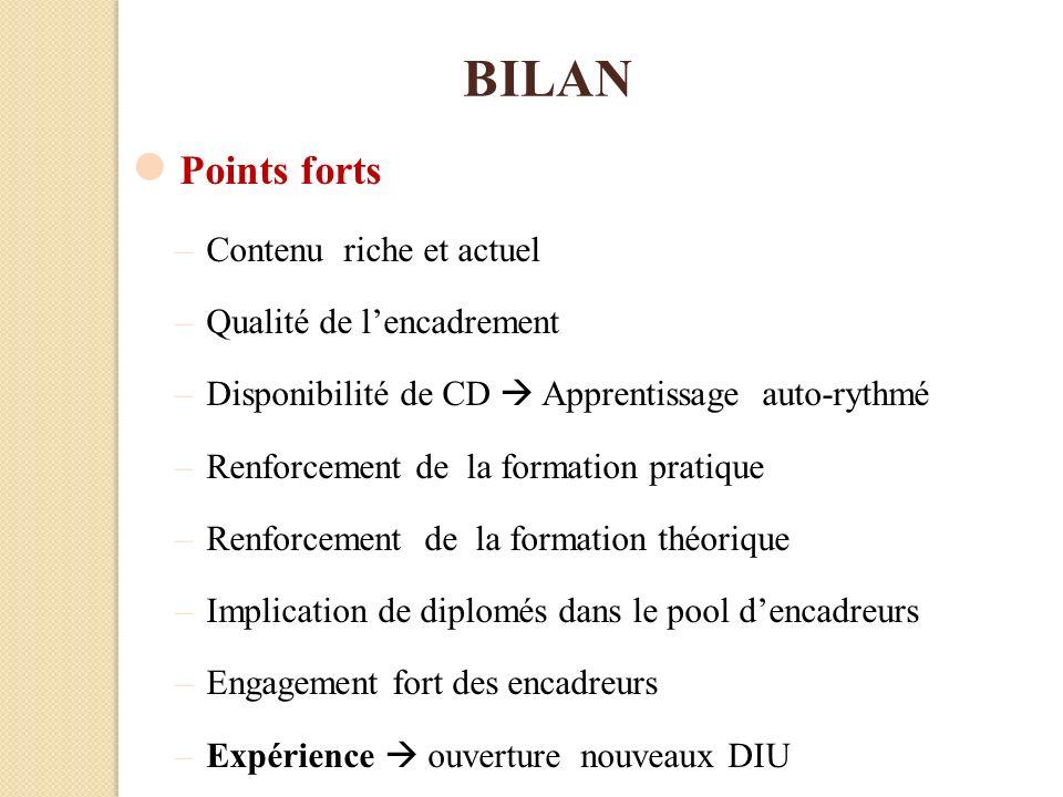 BILAN Points forts –Contenu riche et actuel –Qualité de lencadrement –Disponibilité de CD Apprentissage auto-rythmé –Renforcement de la formation prat